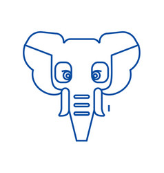 elephant head line icon concept elephant head vector image