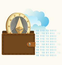 ethereum wallet with coin flat poster vector image