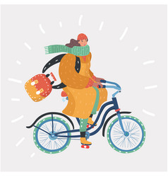 Fashion woman with bicycle vector