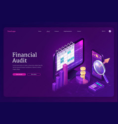 Financial audit isometric landing page tax report vector