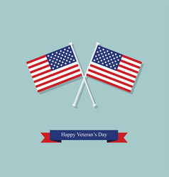 flags and ribbon on the day of americas veterans vector image
