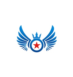 Fly wing emblem star logo vector