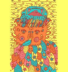 funny fantastic bird - psychedelic art doodle vector image