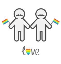 Gay marriage Pride symbol Two contour man with vector