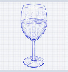 glass of wine blue hand drawn sketch on lined vector image