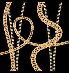 gold chain and metal zipper on black background vector image