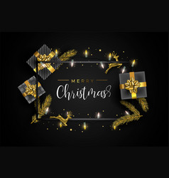 gold christmas card frame with gift decoration vector image