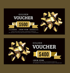 golden gift voucher abstract template gold on vector image