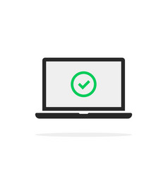 Green check mark in black laptop vector