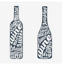 Hand lettering bottle of wine vector