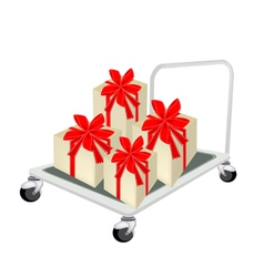 Hand Truck Loading A Lovely Gift Box vector