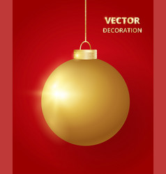Hanging christmas ball sparkling golden glitter vector