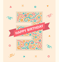happy birthday number 3 colorful greeting card vector image