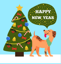 Happy new year banner of beige dog showing tongue vector