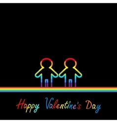 Happy Valentines Day Love card Gay marriage vector image