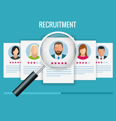 Hiring and recruitment concept for web page vector