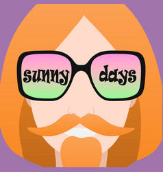 Icon of a man with glasses that says sunny days vector