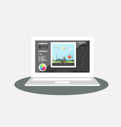 laptop with photo editing program on screen vector image