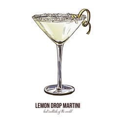 Lemon drop martini vector