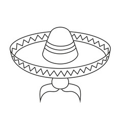 Line art black and white mexican man avatar vector
