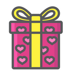 love present filled outline icon valentines day vector image