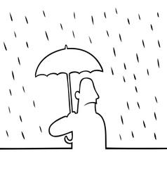 Man with umbrella in rain vector