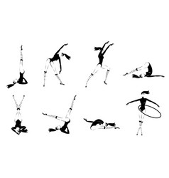 monochrome gymnastic girls set vector image
