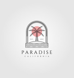 nature palm tree logo coconut line art minimalist vector image