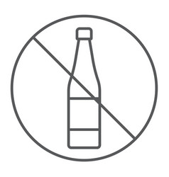 no alcohol thin line icon drink and warning vector image