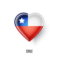 patriotic heart symbol with chile flag vector image