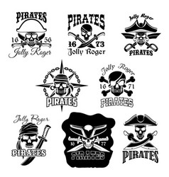 Pirate skull icon and jolly roger flag symbol vector