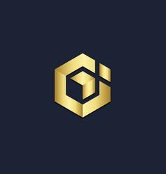 polygon shape g initial company gold logo vector image