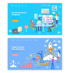 Proposal and tools to grow business online page vector
