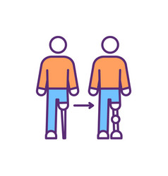 Prosthesis devices evolution rgb color icon vector