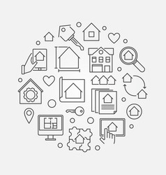 real estate business round outline vector image