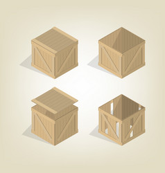 Realistic wooden box isometric vector