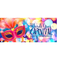 red carnival mask with feathers on shining bokeh vector image