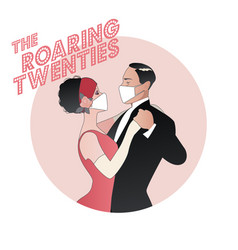 Roaring twenties flapper girl and elegant man vector