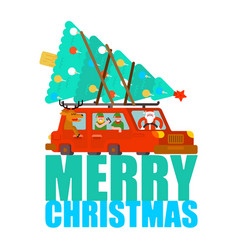 santa claus and deer and elf in car merry vector image