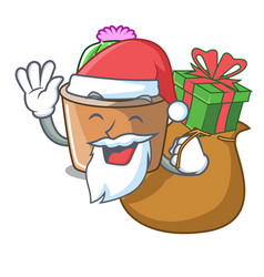Santa with gift mascot star cactus decorate in the vector