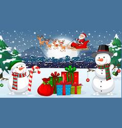 Scene with santa and snowman on christmas night vector