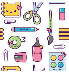 school stationery kawaii seamless pattern pastel vector image