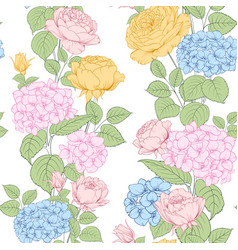 seamless pattern rose and hydrangea flowers vector image