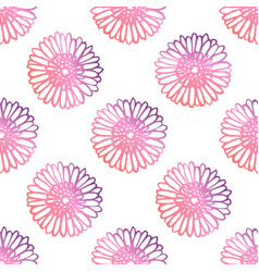 Seamless pattern with hand drawn gerberas vector