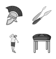 Seats leg and other monochrome icon in cartoon vector