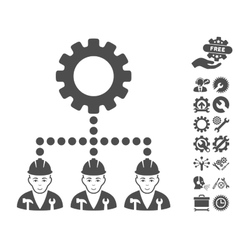 Service Staff Icon With Tools Bonus vector