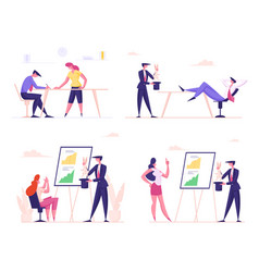 set business characters perform entertainment vector image