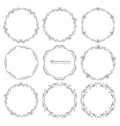 Set decorative round frames vintage style vector