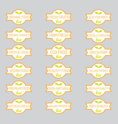 Set of organic vegetables badges vector