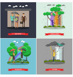 Set of rainy weather concept posters in vector